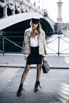 PFW Day 7: Vintage Tweed Jacket On Pont Alexandre III • The Fashion Cuisine