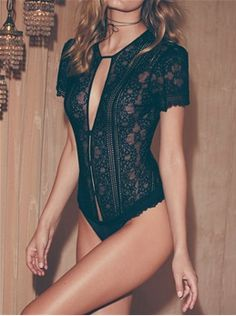 BoutiqueToYou.com - For Love & Lemons Skivvies Elsa Lace Bodysuit in Black