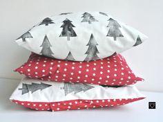 Textile de Noël, avec des motifs sapins imprimés à la main