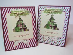 Carte de Noël, carte des fêtes, carte de Noël rustique, carte vintage «A Gift for you»  Stampin' Up! Anglais de la boutique Lamainalacarte sur Etsy