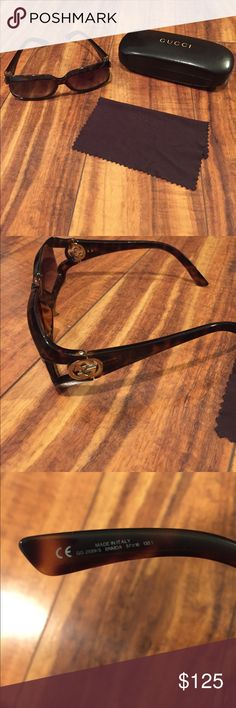 Gucci Sunglasses Tortoise Super cute Gucci tortoise sunglasses!! Look like new! Very faint scratches if any! Paid over $300! Check out my closet too Gucci Accessories Sunglasses