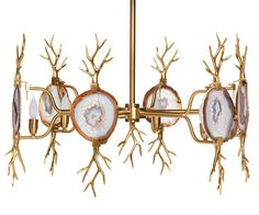 Branch Agate Chandelier, Brass