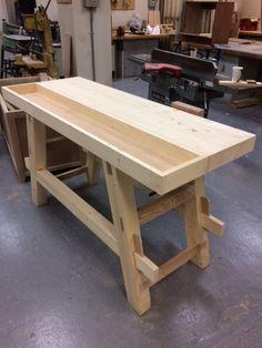 Craftsman Workbench, Small Workbench, Tool Workbench, Woodworking Workbench, Woodworking Projects, Workbench Ideas, Welding Projects, Lumber Storage, Tool Storage