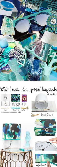 PS- I Made This DIY Lampshade with Minted Fabric   Link - http://psimadethis.com/lifestyle/printed-lampshade