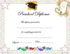 Preschool Graduation Certificate Template