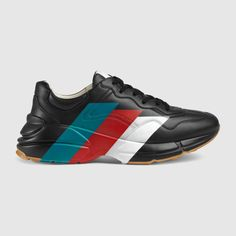 Gucci Drops Two New Versions of the Chunky Rhyton Sneaker: Fine leather and multicolored stripes. Gucci Sneakers, Sneakers Outfit Men, Leather Sneakers, Shoes Sneakers, Guccio Gucci, Man Shoes, Men's Fashion, Fashion Shoes, Shoes 2016