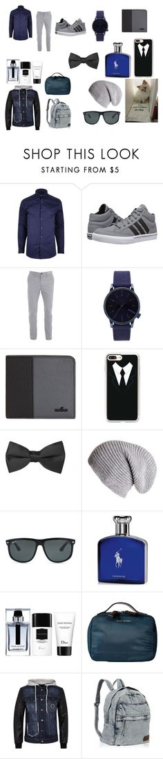 """""""boy night out"""" by hannah-rugar ❤ liked on Polyvore featuring River Island, adidas, Komono, Hogan, Casetify, Black, Ray-Ban, Ralph Lauren, Karl Lagerfeld and Christian Dior"""
