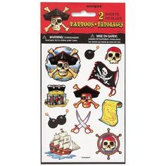 """Pirate Bounty Temporary Tatoos / 2 sheets [Health and Beauty] by Unique. $4.99. Package contains (2) sheets of tattoos. Ages 5+. Each sheet contains (9) tattoos of various shapes & sizes ranging from 0.75"""" to 1.75"""". Package dimensions 4.25"""" x 8.25"""". Perfect addition to your party treat bags! Remove tattoo by scrubbing with soap and water or use make-up remover Tattoo will naturally wear off in several days"""