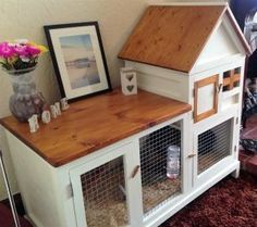 Rabbit hutch edited 1 - super cute but way too small to keep bunnies in. would work with an xpen or as an adorable bunny house for free range rabbits! Diy Bunny Cage, Diy Guinea Pig Cage, Guinea Pig Hutch, Guinea Pig House, Bunny Cages, Rabbit Cages, Guinea Pigs, Diy Bunny Hutch, Rabbit Cage Diy
