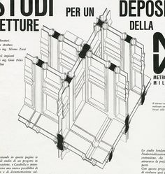 BBPR. Casabella 272 1963: 32 | From RNDRD is a frequently updated feed of architectural drawings and models scanned from design publications throughout the 20th century. Great resource.