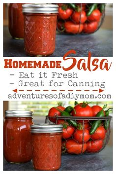 Homemade Salsa Recipe for Canning {Plus an easy trick for peeling tomatoes!} Salsa with a perfect blend of flavors, just a bit spicy and perfect for canning. Spicy Salsa Recipe For Canning, Homemade Canned Salsa, Canned Salsa Recipes, Fresh Salsa Recipe, Home Canning Recipes, Canning Salsa, Fresh Tomato Recipes, Tomato Canning, Sauces