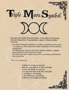 Book of Shadows page - Triple Moon Symbol & Goddess Chant Graphic voice for moon symbols Moon Symbols, Pagan Symbols, Moon Glyphs, Goddess Symbols, Moon Symbol Meaning, Symbols Of Power, Goddess Meaning, Ancient Greek Symbols, Mystic Symbols