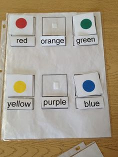 FREE PRINTABLE. Matching words to picture for colors. www.autismtank.blogspot.com