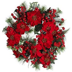 Ideal for bringing some festive cheer into your home, this red poinsettia wreath features a vibrant dash of holiday color that would put the finishing touches to your seasonal decor. This wreath boasts luscious foliage and accents of plump red berries.