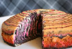 Zebra cake with hot pink and black stripes