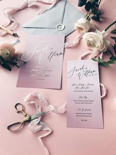 Calligraphy Wedding Invitation in Pink Ombre (Colour can be changed)