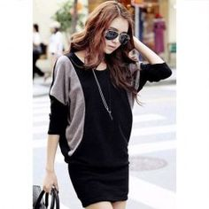 $8.24 Casual Style Color Splicing Scoop Neck Batwing Sleeve Knit Dress For Women