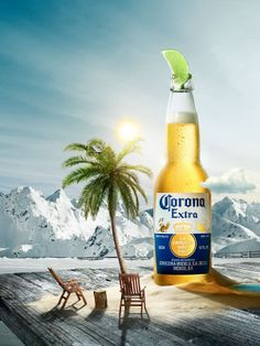 """Corona Beer: """"Mountain"""" Print Ad by Cramer-krasselt Ads Creative, Creative Advertising, Advertising Photography, Commercial Photography, Juice Ad, Honey Packaging, Beer Poster, Beer Art, Poster Layout"""