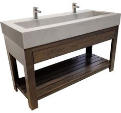 "Concrete Sink - 48"" Trough Sink - contemporary - bathroom sinks - new york - by Trueform Concrete"