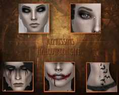 Halloween Set by RemusSims Sims 4 Body Mods, Sims Mods, Sims 4 Cas, Sims Cc, Sims 4 Tattoos, Bat Tattoos, Evil Makeup, Dark Evil, Sims 4 Dresses
