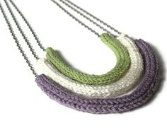 Knit Necklace Tri Color Hand Knit Jewelry- THE GABBY NECKLACE. $23.00, via Etsy.  Looks like a fun idea for i-cord.