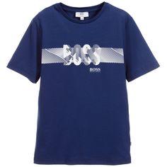 BOSS - Boys Blue Cotton T-Shirt with White Logo Print | Childrensalon