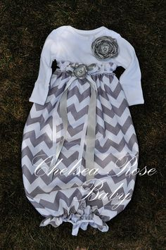 Baby Girl Onesie Dress... take onsie, cut off at empire waist, leaving enough for seam, stitch onesie to gathered fabric, add elastic at bottom and embellish.... LOVE everything about this- style & colors!
