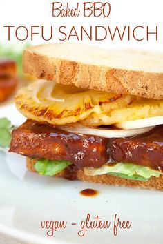 Baked BBQ Tofu Sandwich (vegan, gluten free) - This tofu sandwich with baked BBQ tofu is sweet and spicy. The baked BBQ tofu is crispy on the outside and soft on the inside. Add some pineapple and onion, and you have a match made in heaven! Made with a 4 Ingredient Sriracha BBQ Sauce, it couldn't be any easier! #vegansandwich #bakedtofu #bbq #glutenfree #tofu