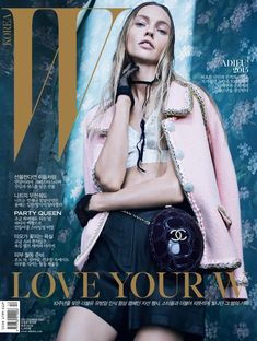 Sasha Pivovarova wears cropped pants, crystal embroidered dresses and lace Pose on W Korea Magazine December 2015 cover shoot