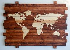 This Hand Stained Oversized Rustic World Map artwork is rustic yet cool. It makes a great conversation piece and is sure to get a WOW! This is a