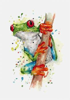 Tree Frog Hand & Bath Towel by Fiona Clarke - Hand Towel Gray Tree Frog, Red Eyed Tree Frog, Watercolor Animals, Watercolor Paintings, Watercolor Trees, Watercolor Portraits, Watercolor Landscape, Abstract Paintings, Tree Frog Terrarium