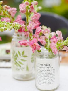 Glass Jar Mother's Day Vase  Place old botanical- and garden-theme postcards inside recycled glass jars for a whimsical Mother's Day gift. Put a handful of pretty pink snapdragons, or another flower on hand, into a small vase and slide the vase into the glass ja