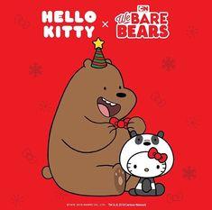 Hello Kitty x We Bare Bears Sanrio Hello Kitty, Chat Hello Kitty, Images Hello Kitty, We Are Bears, Hello Kitty Christmas, Merry Christmas, Hello Kitty Imagenes, Hello Kitty Wallpaper, Kawaii
