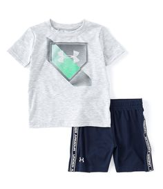 NWT UNDER ARMOUR BOYS DARK GRAY PULL ON SHORTS INFANTS SIZE 18 MONTHS ~
