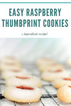 These simple 5 ingredient raspberry thumbprint cookies are quick to make and perfect for any occasion! Raspberry Thumbprint Cookies, Thumbprint Cookies Recipe, Easy Cookie Recipes, Snack Recipes, Dessert Recipes, Easy Recipes, Drink Recipes, Healthy School Snacks, Easy Snacks