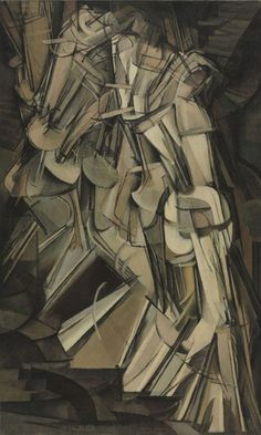 """Marcel Duchamp, Nude Descending a Staircase. Addressing what he later called """"the problem of motion in painting,"""" Duchamp here repeats elements of the nude's body in her final steps down a precipitous spiral staircase. This evocation of elapsed time in a static composition resonates with the Futurist works of Giacomo Balla, Gino Severini, and others."""