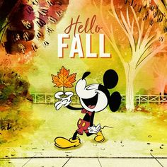 It's the first day of fall! Can you beleaf it? Mickey Mouse Wallpaper, Wallpaper Iphone Disney, Disney Package, Cute Fall Wallpaper, Halloween Wallpaper, October Art, September, Thanksgiving Wallpaper, Mickey Mouse And Friends