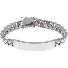 Sterling Essentials Sterling Silver 8.5-inch Cuban Link ID Bracelet ($153) ❤ liked on Polyvore featuring jewelry, bracelets, silver, sterling silver bangles, sterling silver bracelet, lock bracelet, bracelet bangle and bracelet jewelry
