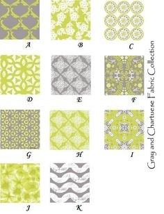 gray and chartuese fabric collection   from 3psinapod @ etsy.com