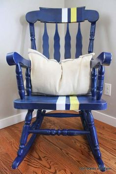 Rocking Chair: To the Races Rocking Chair Redo, Painted Rocking Chairs, Childrens Rocking Chairs, Chalk Paint Furniture, Diy Furniture, Furniture Refinishing, Furniture Projects, Wooden Bar Table, Hidden House