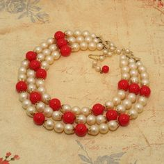 Vintage JAPAN Multi-Strand Faux Pearl and Red Bead Necklace