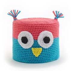 """""""OLLIE OWL"""" CROCHETED TOILET PAPER COVER ♦ Pattern in """"Amigurumi Toilet Paper Covers"""" by Linda Wright. http://amazon.com/dp/0980092361/ Add some fun to your bathroom with a funky toilet paper cover!"""