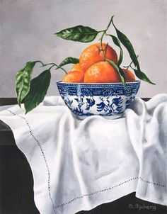 """Tangerines and Blue Willow"": Susan Sjoberg.matches my decor.love blue and oranges. Love Blue, Blue And White, Still Life Fruit, Willow Pattern, Oranges And Lemons, Painting Still Life, Fruit Art, Blue China, Arte Floral"