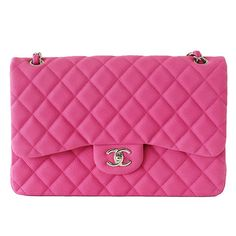 available mightychic.com Jumbo quilted hot pink CHANEL Fuchsia sueded double flap bag with silver hardware. Bag has...