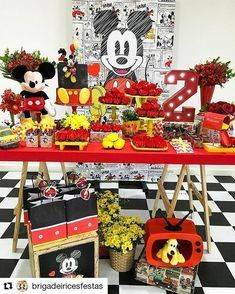 Mickey Mouse Birthday Party Dessert Table and Decor Mickey Party, Festa Mickey Baby, Minnie Mouse Birthday Theme, Mickey Mouse Party Decorations, Mickey First Birthday, Fiesta Mickey Mouse, Second Birthday Ideas, Minnie Mouse Party, Mickey Minnie Mouse