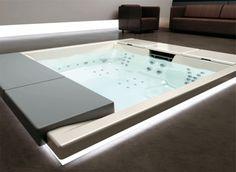 outdoor recessed bathtub.