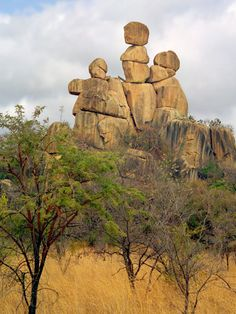Mother and Child Rock - unique Balancing Rock formations located in Matopos National Park, Zimbabwe