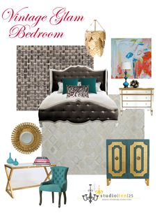 Vintage Glam Bedroom . . . My fave is black  white but for some reason I can't stay away from turquoise  gold.