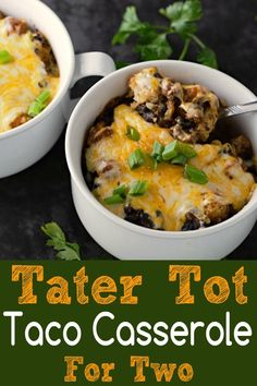 Homemade Taco Tater Tot Casserole for two features homemade taco seasoning with ground beef, black beans, tater tots, and enchilada sauce topped with gooey melted Colby Jack cheese. This dish makes two very generous individual servings and is quite fillin Single Serve Meals, Single Serving Recipes, Tater Tot Casserole, Tater Tots, Mexican Food Recipes, Beef Recipes, Cooking Recipes, Recipies, Chinese Recipes