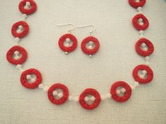 Red Cinnabar Donut White Swarovski Necklace Earrings - pinned by pin4etsy.com